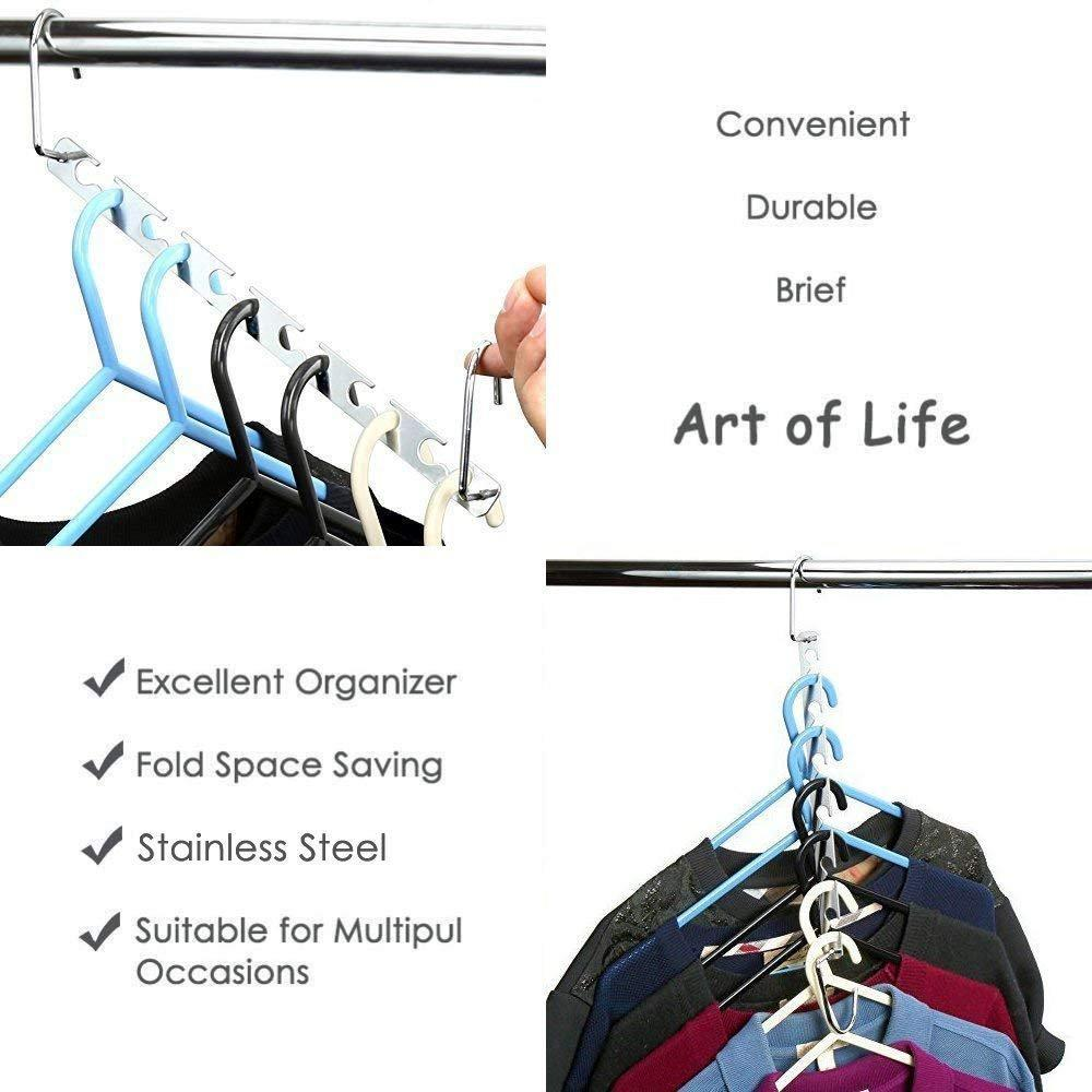 Space Saving Hanger Clothes Hangers Magic Hanger 360 Swivel Keep Your Clothes Organized Wrinkle-Free. 4 Pack Wardrobe Metal Hanger,1 Pack Tie Rack Belt Hanger Hook