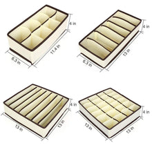 Load image into Gallery viewer, Shop for aitmexcn closet underwear organizer foldable storage box drawer divider kit for socks panties bra ties clothing set of 4 beige