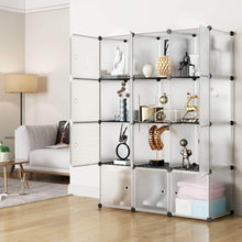 Load image into Gallery viewer, Order now kousi storage storage cubes storage shelves clothes storage room organizer storage shelves shelves for storage cubby shelving cube storage bookshelf transparent white 12 cubes storage