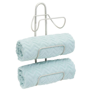 Products mdesign modern decorative metal 3 level wall mount towel rack holder and organizer for storage of bathroom towels washcloths hand towels 2 pack satin