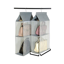 Load image into Gallery viewer, Select nice zaro 2 in 1 hanging shelf garment organizer for bags clothes 4 shelves practical closet purse storage collapsible space saver accessory breathable mesh net with hooks hanger easy mount gray