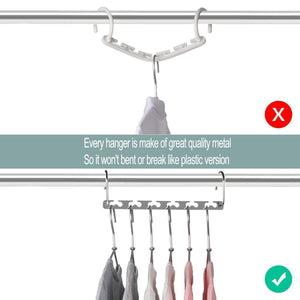 Storage organizer meetu space saving hangers wonder multifunctional clothes hangers stainless steel 6x2 slots magic hanger cascading hanger updated hook design closet organizer hanger pack of 20