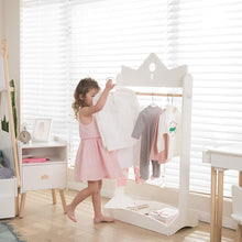 Load image into Gallery viewer, Featured jolie vallee toys home 2 in 1 kids wood armoire wardrobe crown clothes rack white baby clothes storage rack standing closet boutique clothes rack organizer for toddler girls 2 5 years