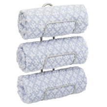 Load image into Gallery viewer, Purchase mdesign modern decorative metal 3 level wall mount towel rack holder and organizer for storage of bathroom towels washcloths hand towels 2 pack satin