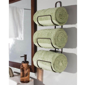 Buy mdesign metal wall mount 3 level bathroom towel rack holder organizer for storage of bath towels washcloths hand towels robes 2 pack bronze