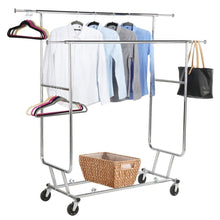 Load image into Gallery viewer, Shop yaheetech commercial grade garment rack rolling collapsible rack hanger holder heavy duty double rail clothes rack extendable clothes hanging rack 2 omni directional casters w brake 250 lb capacity