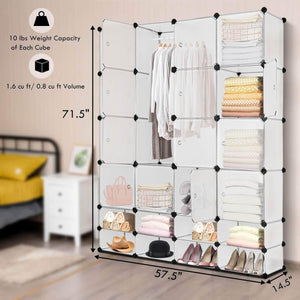 Select nice tangkula portable clothes closet wardrobe bedroom armoire diy storage organizer closet with doors 16 cubes and 8 shoe racks