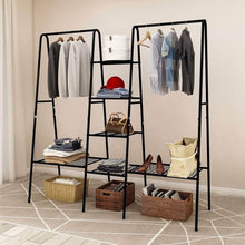 Load image into Gallery viewer, Top rated metal garment rack heavy duty indoor bedroom clothing hanger with top rod and lower storage shelf clothes rack with 1 tier shelves black