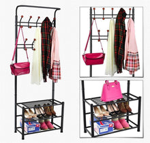 Load image into Gallery viewer, Budget world pride metal multi purpose clothes coat stand shoes rack umbrella stand with 18 hanging hooks max load capicity up to 67 5kg 148 8lb 26 7 x 12 2 x 74 black