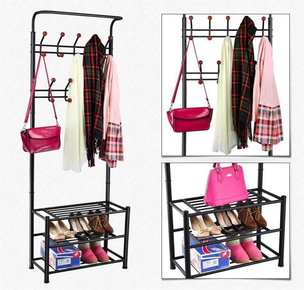 Budget world pride metal multi purpose clothes coat stand shoes rack umbrella stand with 18 hanging hooks max load capicity up to 67 5kg 148 8lb 26 7 x 12 2 x 74 black
