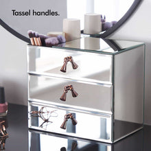Load image into Gallery viewer, Latest beautify mirrored glass cosmetic makeup jewelry organizer with 3 drawers and makeup brushes section includes glass cleaning cloth and rose gold handles