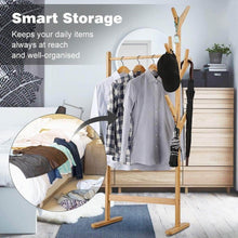 Load image into Gallery viewer, Home langria single rail bamboo garment rack with 8 side hook tree stand coat hanger and four stable leveling feet for jacket umbrella clothes hats scarf and handbags natural wood finish