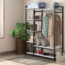 Load image into Gallery viewer, Budget little tree free standing closet organizer heavy duty clothes rack with 6 shelves and handing bar large closet storage stytem closet garment shelves