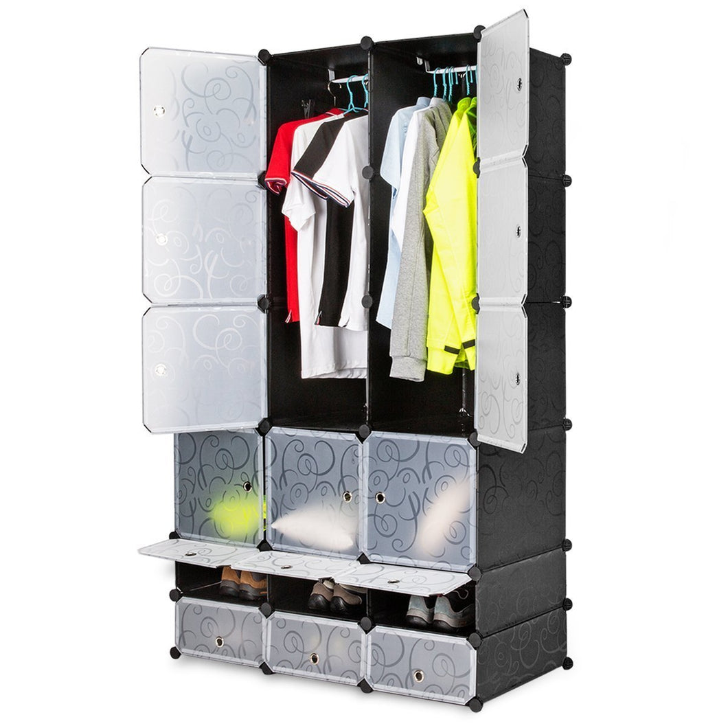 Try honey home diy modular shelving storage organizer 18 cube extra large portable wardrobe with clothes rod 12 cubes organizing cabinet 6 cubes shoe rack