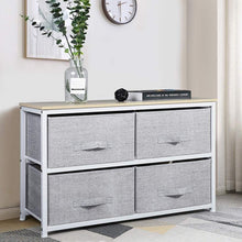 Load image into Gallery viewer, Try aingoo dresser storage 4 drawers storage bedroom steel frame fabric wide dressers drawers for clothes grey wood board 2x2 drawers grey