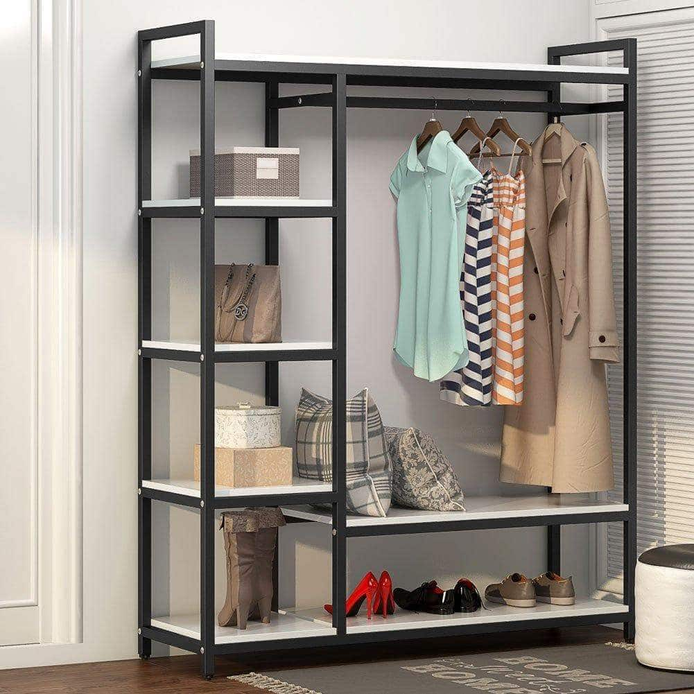 Try little tree free standing closet organizer heavy duty clothes rack with 6 shelves and handing bar large closet storage stytem closet garment shelves