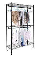 Load image into Gallery viewer, Kitchen modrine double rod garment rack 3 tiers heavy duty hanging closet with lockable rolling wheels 2 side hooks and 2 clothes rods black