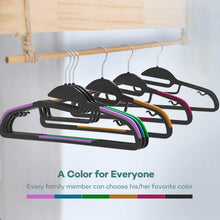 Load image into Gallery viewer, Organize with sable 60 pack plastic clothes hangers space saving ultra thin with 10 finger clips non slip heavy duty s shape for tight collars 6 colors for shorts pants shirts scarves