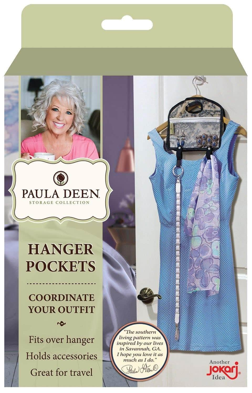 Budget friendly paula deen hanger pocket organizer storage hanging accessory holder fits all of your outfit accessories organize daily clothing and wardrobe coordinating a scarf handbag jewelry and clothing