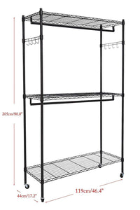 Heavy duty modrine double rod garment rack 3 tiers heavy duty hanging closet with lockable rolling wheels 2 side hooks and 2 clothes rods black