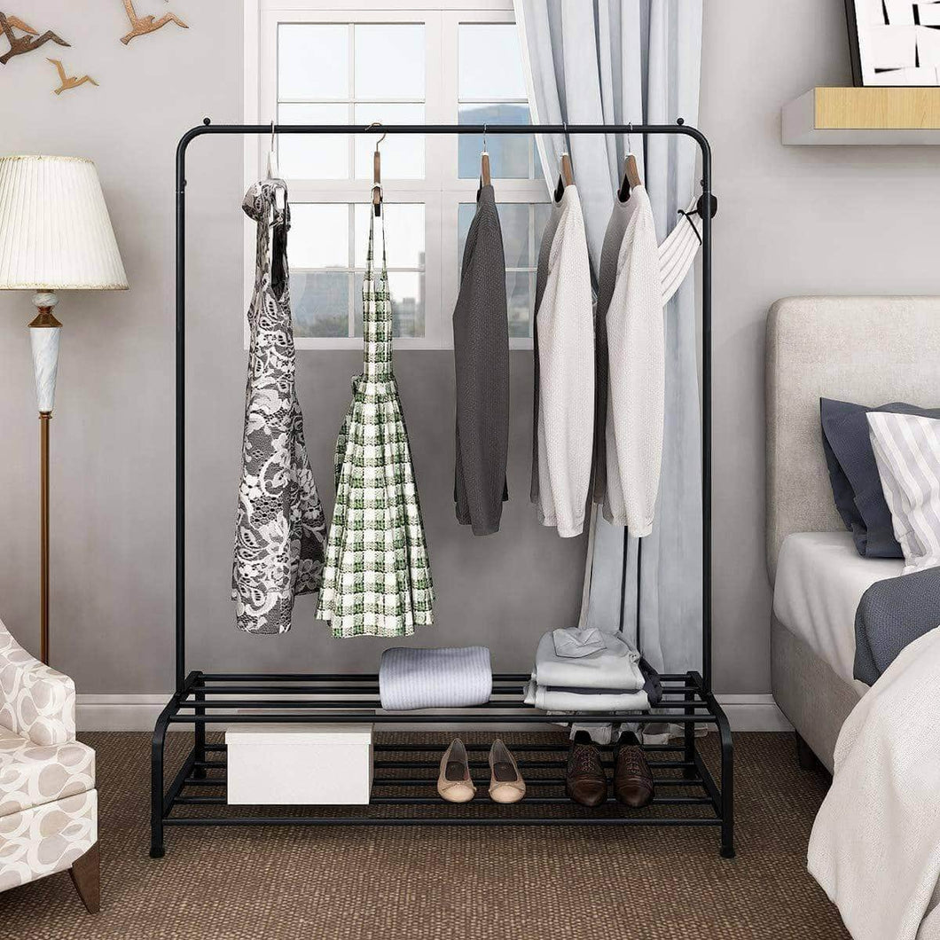Great clothes rack metal garment racks heavy duty indoor bedroom cool clothing hanger with top rod and lower storage shelf 59 x 60 length x height high storage rack black