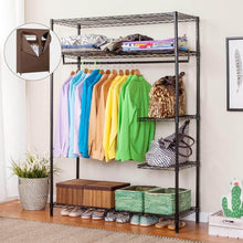 Load image into Gallery viewer, Selection langria heavy duty wire shelving garment rack clothes rack portable clothes closet wardrobe compact zip closet extra large wardrobe storage rack organizer hanging rod capacity 420 lbs dark brown