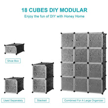 Load image into Gallery viewer, Best seller  honey home diy modular shelving storage organizer 18 cube extra large portable wardrobe with clothes rod 12 cubes organizing cabinet 6 cubes shoe rack