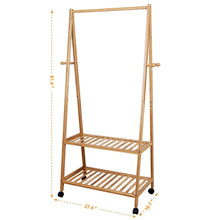Load image into Gallery viewer, Selection songmics rolling coat rack bamboo garment rack clothes hanging rail with 2 shelves 4 hooks for shoes hats and scarves in the hallway living room guest room