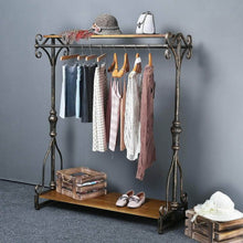 Load image into Gallery viewer, Save qianniu industrial clothing rack display commercial grade heavy duty garment rack with shelves vintage steampunk hat rack shoes rack cloth hanger 47