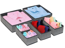 Load image into Gallery viewer, Discover the onlyeasy foldable cloth storage box closet dresser drawer organizer cube basket bins containers divider with drawers for scarves underwear bras socks ties 6 pack linen like grey mxdcb6p