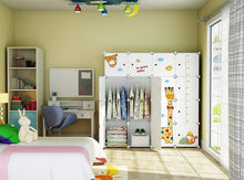 Load image into Gallery viewer, Amazon kousi kids dresser kids closet portable closet wardrobe children bedroom armoire clothes storage cube organizer white with cute animal door safety large sturdy 10 cubes 2 hanging sections