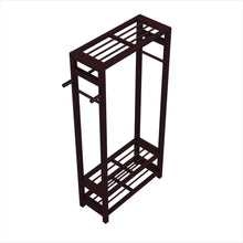 Load image into Gallery viewer, Shop for stony edge wood coat shoe garment rack and hat stand for hallway or front door entryway free standing clothing rail hanger easy to assemble espresso