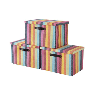 Large Fabric Storage Box with Lid and Leather Handles by Tegance,Decorative Collapsible Storage Bin for Office, Home, Closet, Toys Rainbow Color 16x11x10.6 Inch (3pack Rainbow Box)