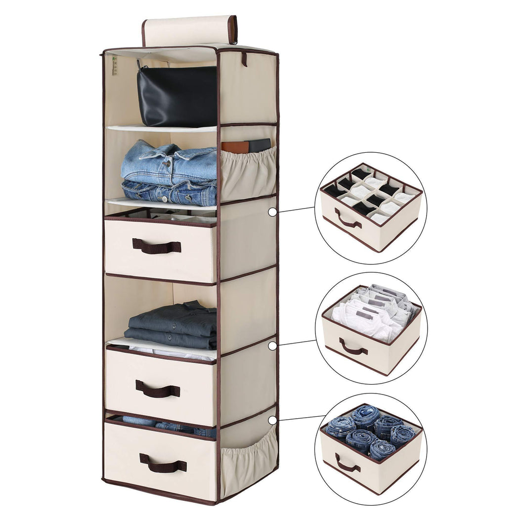 StorageWorks 6-Shelf Hanging Closet Organizer, Foldable Closet Hanging Shelves with 2 Drawers & 1 Underwear/Socks Drawer, 42.5