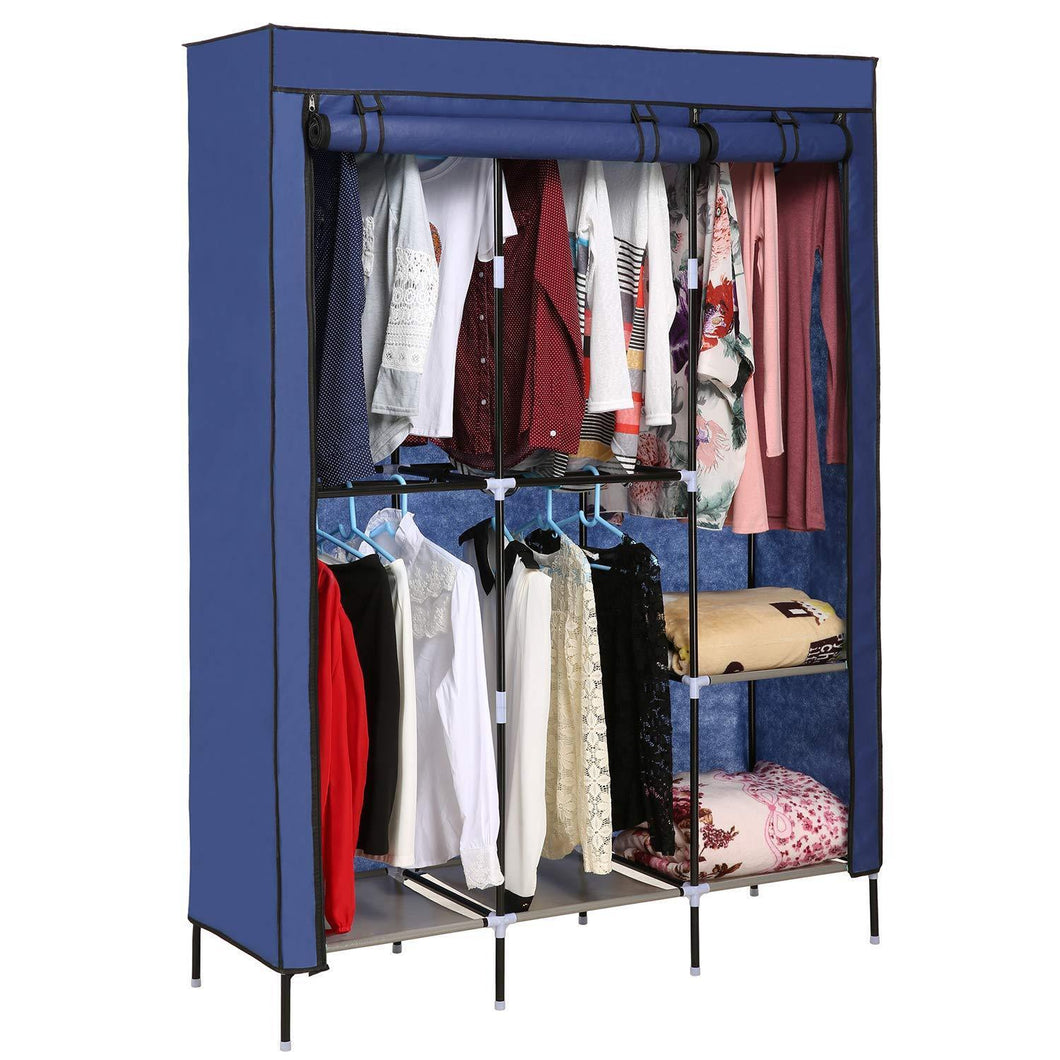 Products yiilove stylish wardrobe storage portable clothes closet organizer with rollable wardrobe curtain for bedroom to storage clothes shoes blue