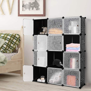 Products tangkula diy storage cubes portable clothes closet wardrobe cabinet bedroom armoire diy storage organizer closet 12 cubes