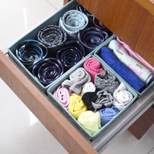 Load image into Gallery viewer, Best homyfort set of 6 foldable dresser drawer dividers cloth storage boxes closet organizers for underwear bras socks ties scarves blue lantern printing