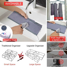 Load image into Gallery viewer, New drawer organizer clothes dresser underwear organizer washable deep socks bra large boxes storage foldable removable dividers fabric basket bins closet t shirt jeans leggings nursery baby clothing gray