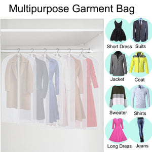 On amazon cm cumizon garment bags hanging garment covers for long dresses translucent suit bag set of 6 with full length zipper for dance costumes gown dress clothes storage 24x50 60 inch