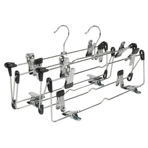 LOHAS Home 4 Tier Skirt Hangers Pants Hangers Closet Organizer Stainless Steel Fold up Space Saving Hangers (2-Pieces)