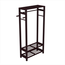 Load image into Gallery viewer, Select nice stony edge wood coat shoe garment rack and hat stand for hallway or front door entryway free standing clothing rail hanger easy to assemble espresso