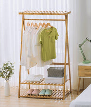 Load image into Gallery viewer, Explore copree bamboo garment coat clothes hanging heavy duty rack with top shelf and 2 tier shoe clothing storage organizer shelves