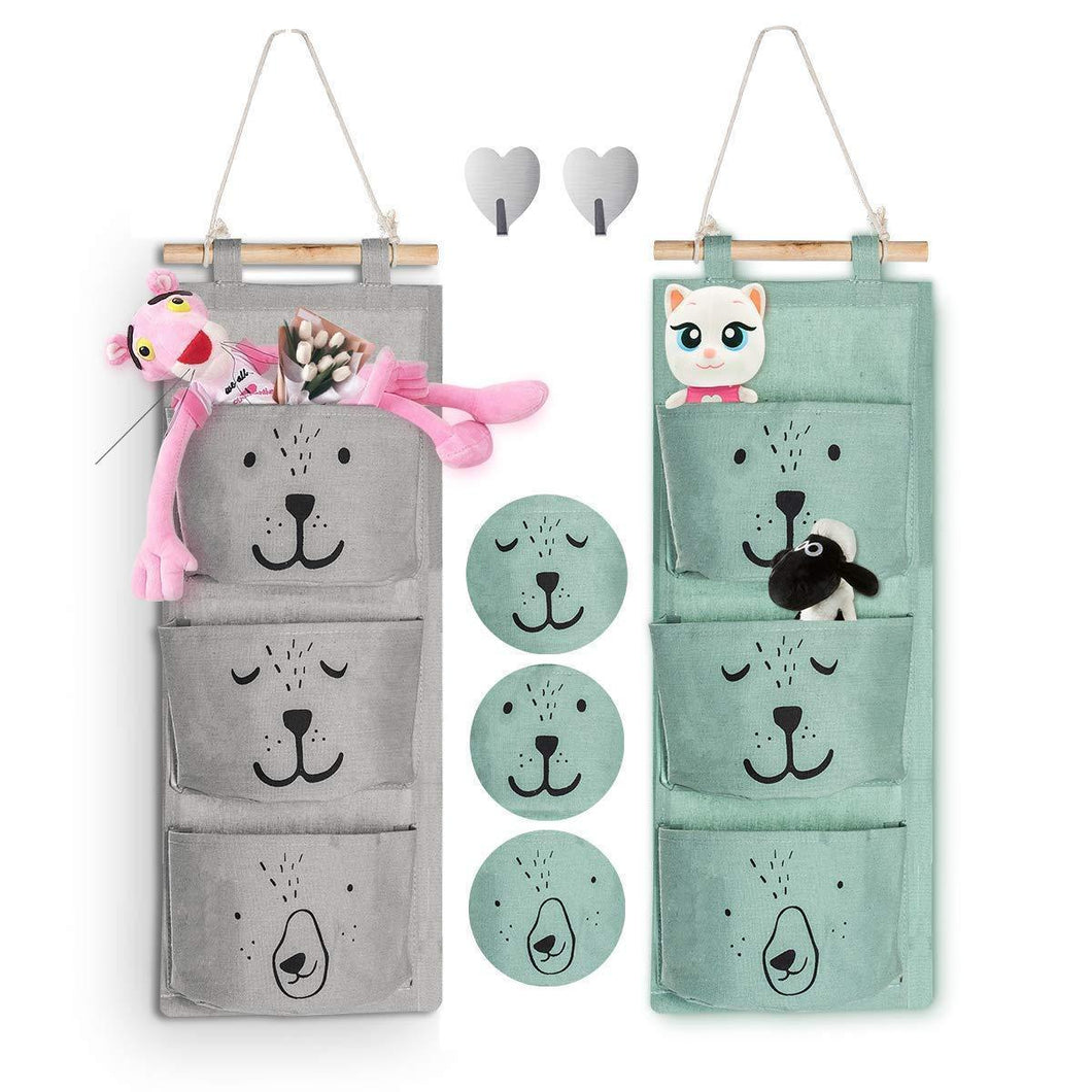 Aitsite 2 Pcs Wall Hanging Storage Bag|Cartoon Over The Door Closet Organizer|Linen Fabric Organizer with 3 Semicircular Pockets for Bedroom Bathroom Kitchen (Cyan+Grey)