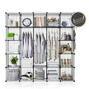 YOZO Modular Wire Cube Storage Wardrobe Closet Organizer Metal Rack Book Shelf MultiFuncation Shelving Unit, 25 Cubes, Depth 14 inches, Black