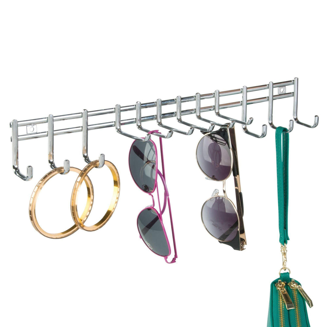 mDesign Closet Wall Mount Metal Accessory Organizer and Storage Center - Modern Slim Holder for Womens and Mens Ties, Belts, Scarves, Sunglasses, Watches - Hardware Included- 12 Hooks, 2 Pack, Chrome