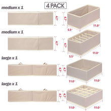 Load image into Gallery viewer, Amazon best tenabort foldable drawer organizer dividers cloth storage box closet dresser organizer cube fabric containers basket bins for underwear bras socks panties lingeries nursery baby clothes beige 4 pack