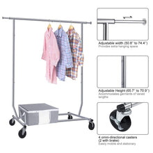 Load image into Gallery viewer, The best camabel clothing garment rack heavy duty capacity 300 lbs adjustable rolling commercial grade steel extendable hanger drying organizer chrome finish storage shelf with wheels load up to 300lbs