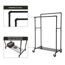 Load image into Gallery viewer, Budget friendly songmics industrial pipe double rail wheels with commercial grade clothing hanging rack organizer for garment storage display black uhsr60b