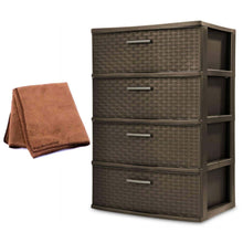 Load image into Gallery viewer, Storage organizer new sterilite 4 drawer wide weave tower plastic storage kitchen or bedroom organizer in espresso with microfiber cleaning cloth