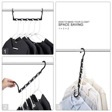 Load image into Gallery viewer, Amazon house day black magic hangers space saving clothes hangers organizer smart closet space saver pack of 10 with sturdy plastic for heavy clothes